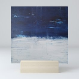 Blue White Abstract Painting Mini Art Print