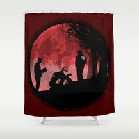 true detective Shower Curtains featuring True Detective - Horrors of life by kamonkey