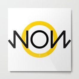"""NOW"" Museum style clock Metal Print"