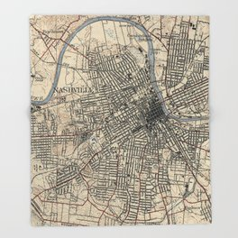 Vintage Map of Nashville Tennessee (1929) Throw Blanket