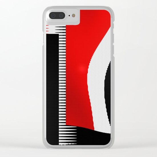 black and white meets red version 16 Clear iPhone Case