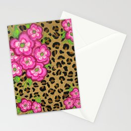 Floral leopard print Stationery Cards