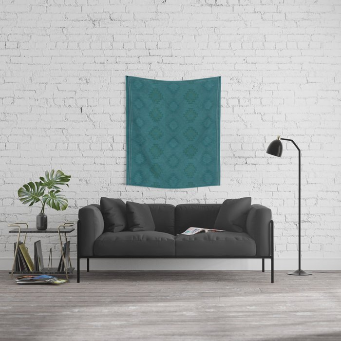 Moroccan Teal Painted Desert Wall Tapestry