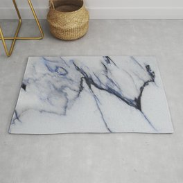 White Marble with Black and Blue Veins Rug