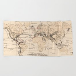 Vintage World Volcanoes, Earthquakes and Tsunamis Map (1852) Beach Towel