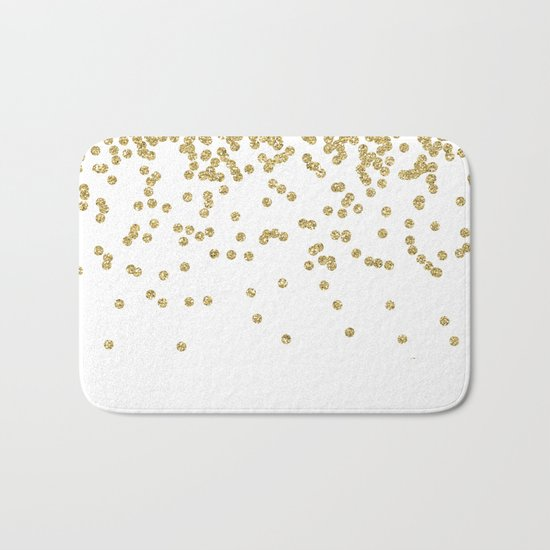 Sparkling golden glitter confetti - Luxury design #Society6 Bath Mat