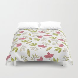 Pink green ivory hand painted autumn leaves pattern Duvet Cover