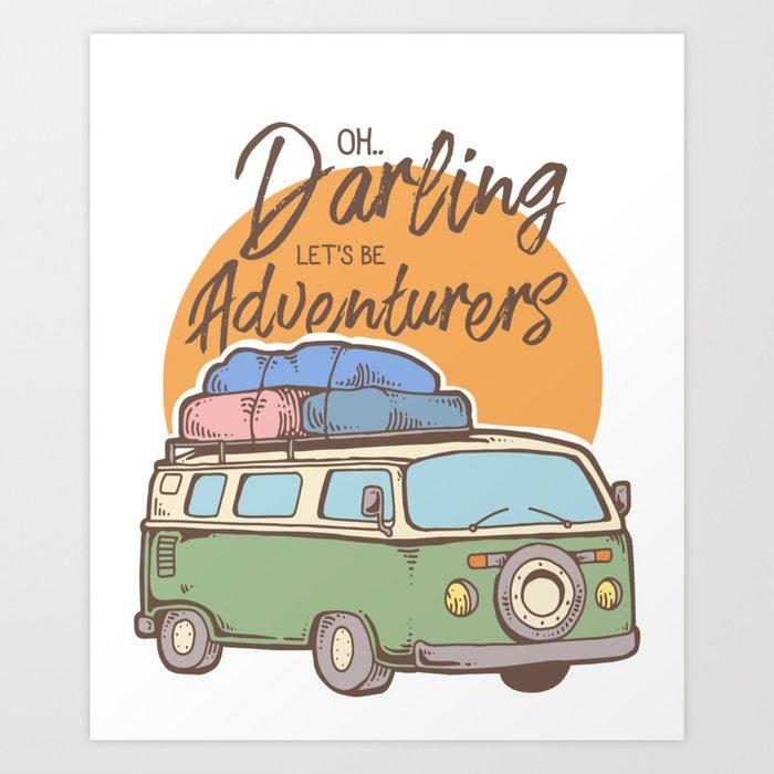38d59fcef473a Road Trip Camping Adventure Campfire Print T-Shirt - Design Illustration  Print Artwork Gift Idea Tee Art Print by badello