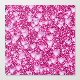 Hearts on sparkling Glitter Print,pink Canvas Print
