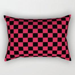 Black and Crimson Red Checkerboard Rectangular Pillow