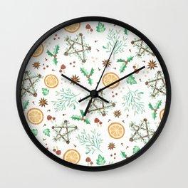 Pagan Yule Solstice Pattern Wall Clock