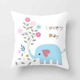 Lovely Elephant with Flower Bouquet Throw Pillow