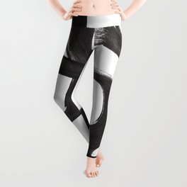 Black And White Minimalist Mid Century Abstract Ink Art Ripple Maze Lines Retro Style Leggings
