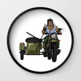 Russian bear in winter cap on Soviet motorcycle  Wall Clock