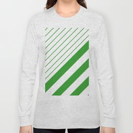 Green And White Stripes Pattern Long Sleeve T-shirt