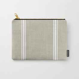 White Stripes on Linen color background French Grainsack Distressed Country Farmhouse Carry-All Pouch