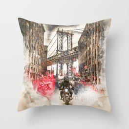 Vintage New York Streets Throw Pillow