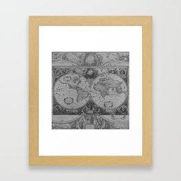 Antique Gray Map Framed Art Print