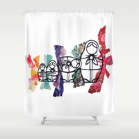 russian Shower Curtains featuring Russian Dolls by Libbysscribbles
