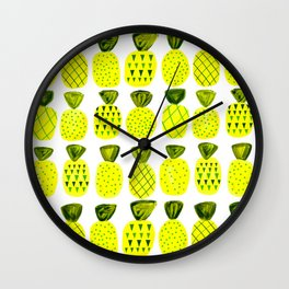 Modern Pineapples Painting Wall Clock