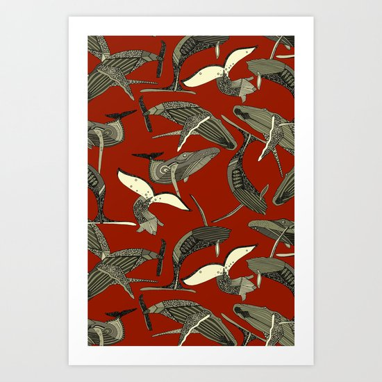 just whales red Art Print
