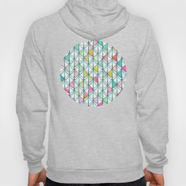 Pencil & Paint Fish Scale Cutout Pattern - white, teal, yellow & pink Hoody
