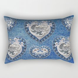 Flowers On Hearts Rectangular Pillow