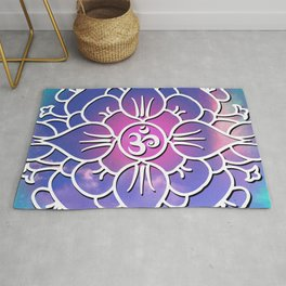 Yoga's Spiritual Om Mantra // Over Pink and Blue Colored Clouds Rug