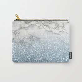 She Sparkles - Turquoise Teal Glitter Marble Carry-All Pouch