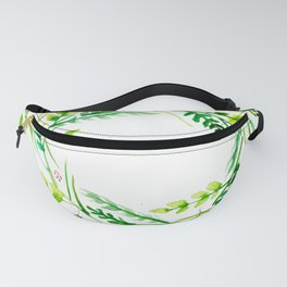 Romantic Wreath of Leaves and Flowers Fanny Pack
