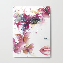 Girl with Purple Butterflies Metal Print