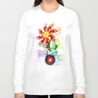 techno Long Sleeve T-shirts featuring Techno Flower by Andrew Sebastian Kwan