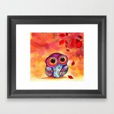 Owl's First Fall Leaf Framed Art Print