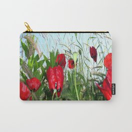 Landscape Close Up Poppies Against Morning Sky Carry-All Pouch