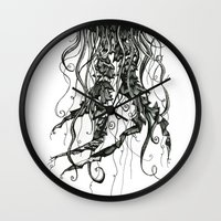 jellyfish Wall Clocks featuring Jellyfish by Aubree Eisenwinter