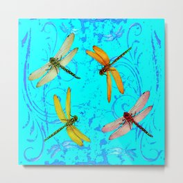 DRAGONFLY WORLD IN BLUE ABSTRACT ART DESIGN Metal Print