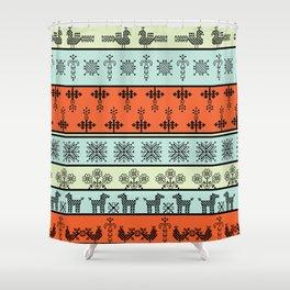 folk embroidery, flowers, birds, peacocks, horse, symbols earth, sun fertility, harvesting Shower Curtain