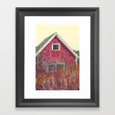 Red Coastal Cottage Framed Art Print
