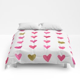 Watercolor Hearts - Pink, Red and Gold Comforters