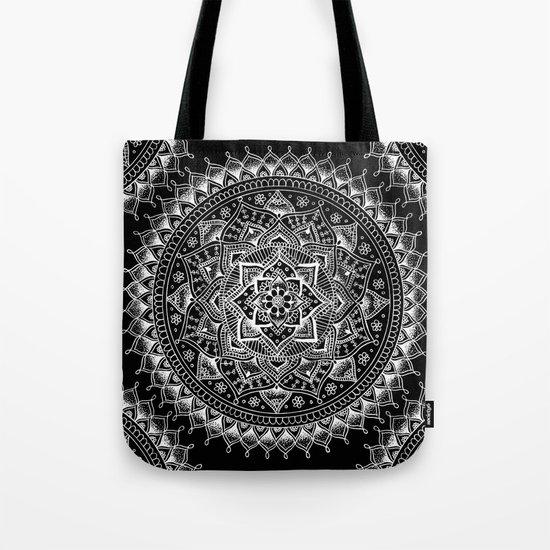 White Flower Mandala on Black Tote Bag