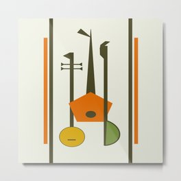 Mid-Century Modern Art Musical Strings Metal Print