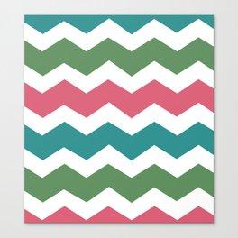 Green Pink Blue Chevron Canvas Print