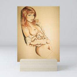 girl with teddy bear Mini Art Print
