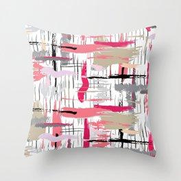 Pink Brushstroke Throw Pillow