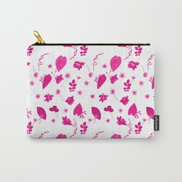 Pink Floral Pressed Flower and Leaf Pattern Carry-All Pouch