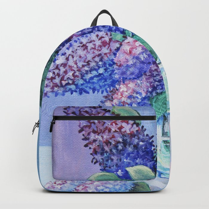 bouquet of lilac in a glass vase Backpack