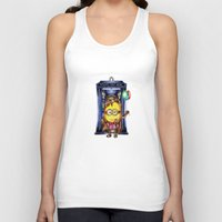 ballon Tank Tops featuring  Yellow Doll  hold ballon doctor with blue phone booth by JanaProject