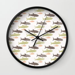 Green Brown and Pink Shark Silhouette Wave Wall Clock