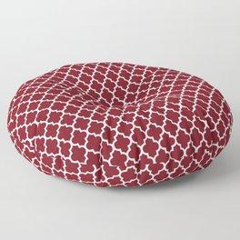 Geometric marsala red white modern quatrefoil pattern Floor Pillow