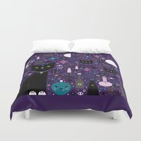 kittens Duvet Covers featuring Halloween Kittens  by Carly Watts